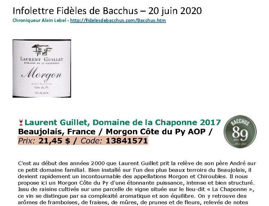BACCHUS – MORGON CÔTE DU PY – LAURENT GUILLET – 20-06-2020